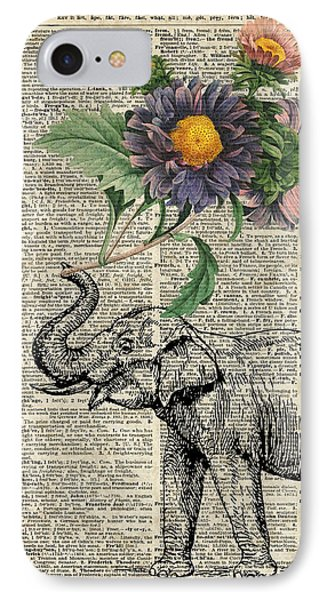 Elephant With Flowers IPhone Case by Jacob Kuch