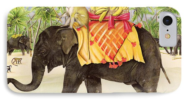Elephants With Bananas Phone Case by EB Watts