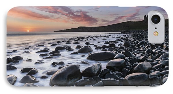 Embleton Bay And Dunstanburgh Castle At Dawn IPhone Case by Rod McLean