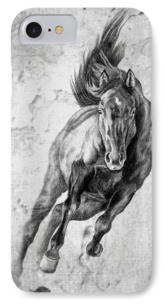 Emergence Galloping Black Horse IPhone Case by Renee Forth-Fukumoto