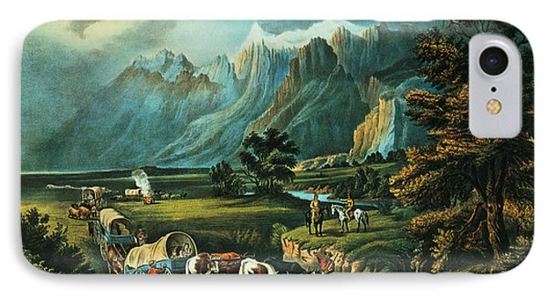 Emigrants Crossing The Plains IPhone Case by Currier and Ives