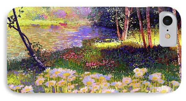 Enchanted By Daisies, Modern Impressionism, Wildflowers, Silver Birch, Aspen IPhone 7 Case by Jane Small