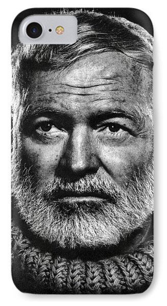 Ernest Hemingway IPhone Case by Daniel Hagerman