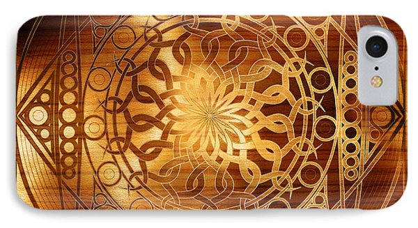 Eternity Mandala Golden Zebrawood Phone Case by Hakon Soreide