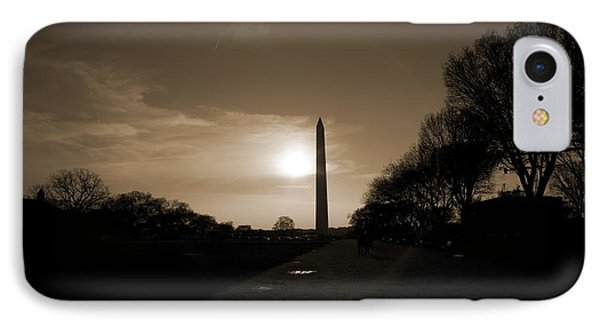 Evening Washington Monument Silhouette IPhone 7 Case by Betsy Knapp