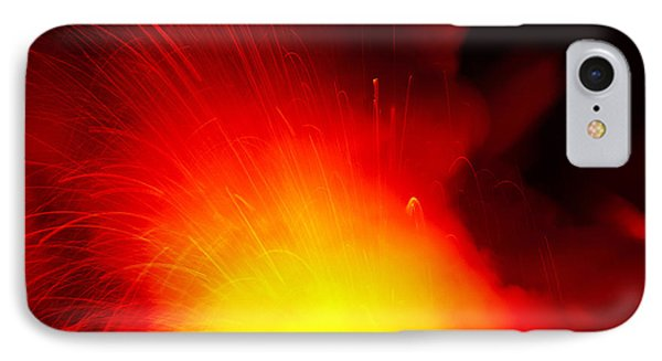 Exploding Lava At Night Phone Case by Peter French - Printscapes