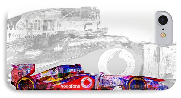 F1 Race Car Digital Painting IPhone Case by David Haskett