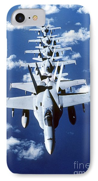 Fa-18c Hornet Aircraft Fly In Formation Phone Case by Stocktrek Images