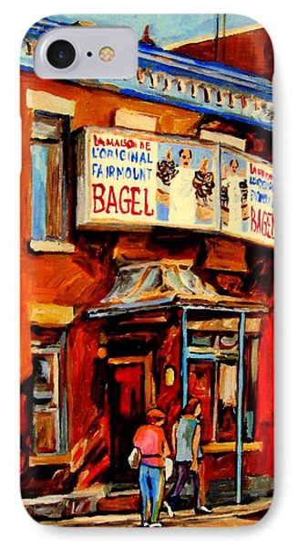 Fairmount Bagel Montreal IPhone Case by Carole Spandau