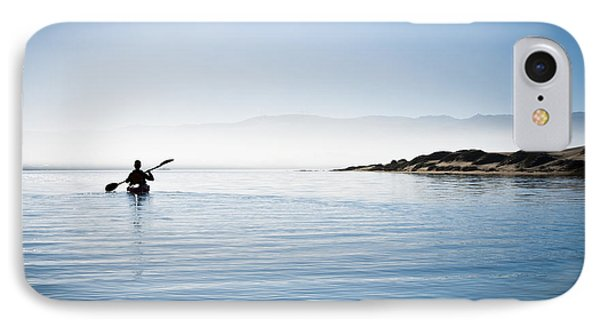 Faraway Kayaker In Morro Bay Phone Case by Bill Brennan - Printscapes