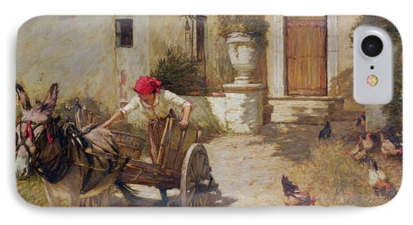 Farm Yard Scene IPhone Case by Henry Herbert La Thangue