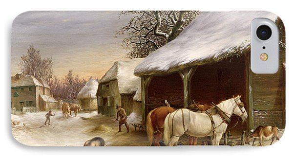 Farmyard In Winter  IPhone Case by Henry Woollett