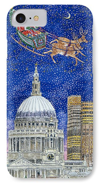 Father Christmas Flying Over London Phone Case by Catherine Bradbury