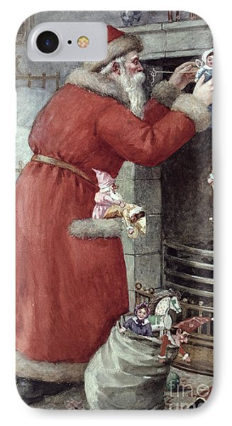 Father Christmas IPhone Case by Karl Roger