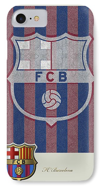 Fc Barcelona Logo And 3d Badge Phone Case by Serge Averbukh