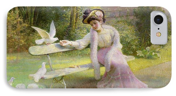 Feeding The Doves  IPhone Case by Edmond Alphonse Defonte