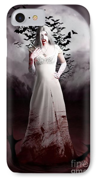 Female Vampire During Twilight Full Moon Horror IPhone Case by Jorgo Photography - Wall Art Gallery