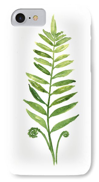 Fern Leaf Watercolor Painting IPhone Case by Joanna Szmerdt