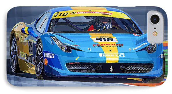 Ferrari 458 Challenge Team Ukraine 2012 Variant IPhone Case by Yuriy Shevchuk