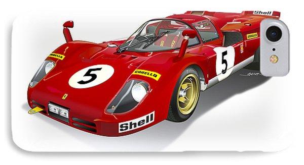 Ferrari 512 Illustration IPhone Case by Alain Jamar