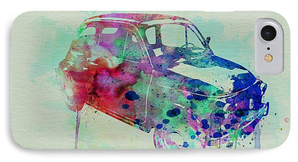Fiat 500 Watercolor IPhone Case by Naxart Studio