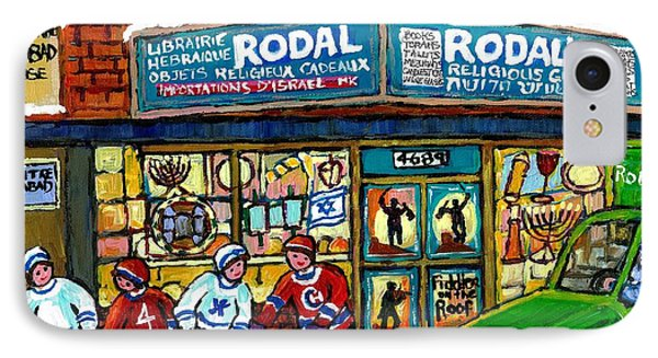 Fiddler On The Roof Painting Canadian Art Jewish Montreal Memories Rodal Gift Shop Van Horne Hockey  IPhone Case by Carole Spandau