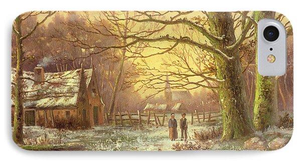 Figures On A Path Before A Village In Winter IPhone Case by Johannes Hermann Barend Koekkoek