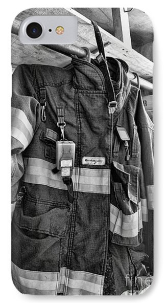 Fireman - Saftey Jacket Black And White Phone Case by Paul Ward