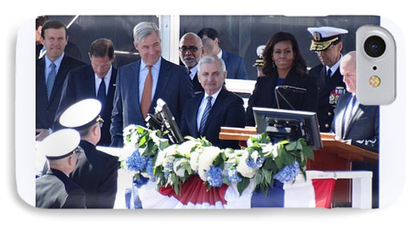 First Lady Michelle Obama At The Christening Of The Illinois Ssn 786 IPhone Case by Gina Sullivan
