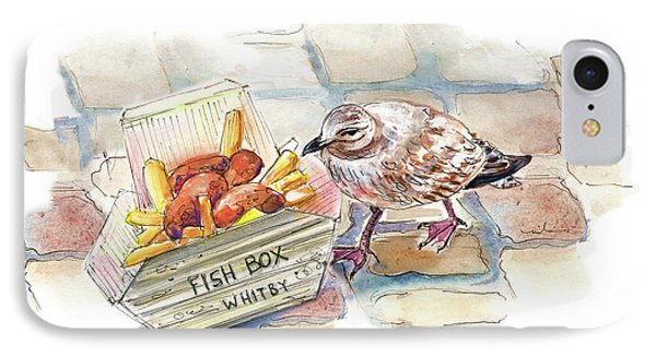 Fish And Chips For A Seagull In Whitby IPhone Case by Miki De Goodaboom