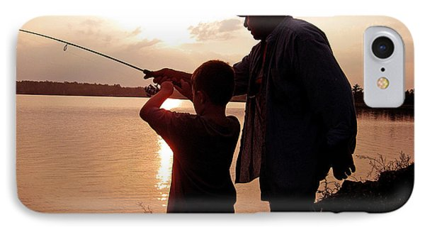IPhone Case featuring the photograph Fishing At Sunset Grandfather And Grandson by A Gurmankin