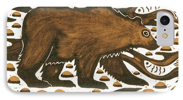 Fishing Bear IPhone Case by Nat Morley