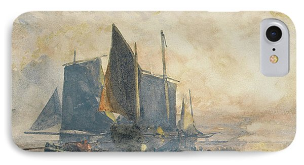 Fishing Boats At Anchor   Sunset IPhone Case by William Roxby Beverly