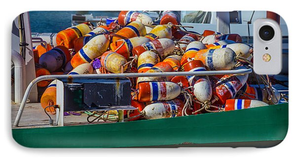 Fishing Bouys On Boat Deck IPhone Case by Garry Gay