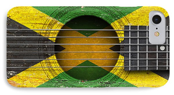 Flag Of Jamaica On An Old Vintage Acoustic Guitar IPhone Case by Jeff Bartels