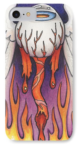 Flaming Flying Eyeball Phone Case by Amy S Turner