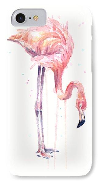 Flamingo Illustration Watercolor - Facing Left IPhone 7 Case by Olga Shvartsur