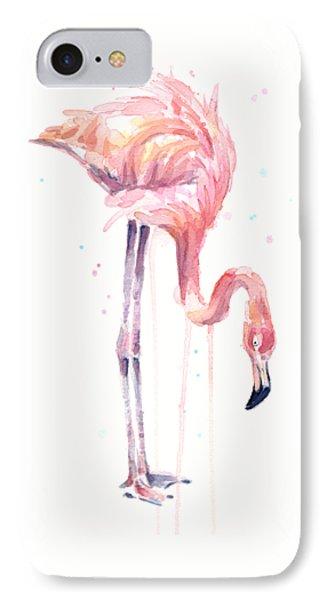 Flamingo Illustration Watercolor - Facing Left IPhone Case by Olga Shvartsur