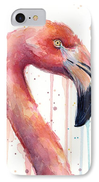 Flamingo Painting Watercolor - Facing Right IPhone 7 Case by Olga Shvartsur