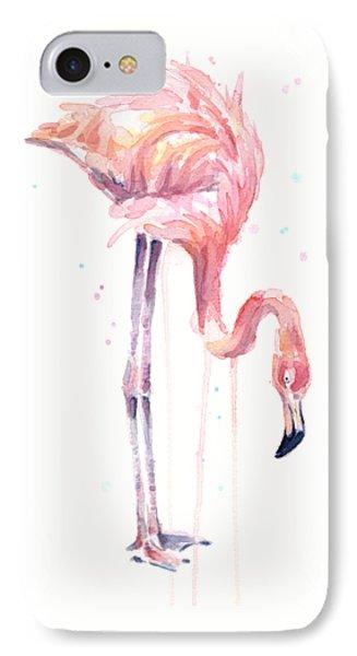 Flamingo Watercolor - Facing Left IPhone 7 Case by Olga Shvartsur