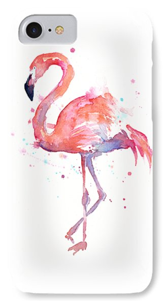 Flamingo Watercolor IPhone 7 Case by Olga Shvartsur