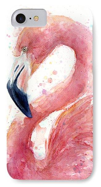 Flamingo Watercolor Painting IPhone Case by Olga Shvartsur