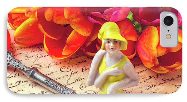 Flapper Doll And Tulips IPhone Case by Garry Gay