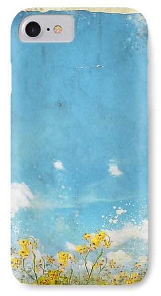 Floral In Blue Sky And Cloud IPhone Case by Setsiri Silapasuwanchai