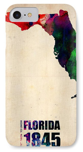 Florida Watercolor Map IPhone Case by Naxart Studio
