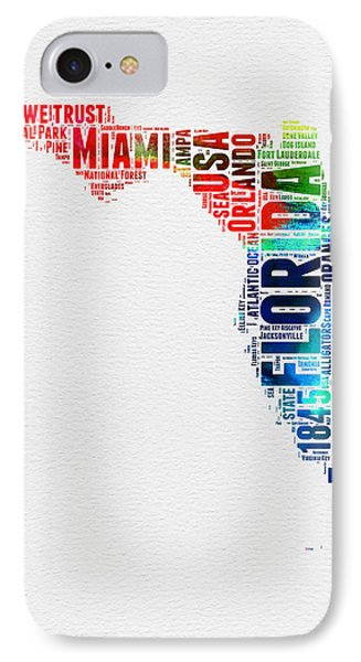 Florida Watercolor Word Cloud Mao IPhone Case by Naxart Studio