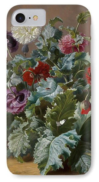 Flower Piece With Poppies And Butterflies IPhone Case by Celestial Images