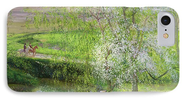 Flowering Apple Tree And Willow IPhone Case by Timothy Easton