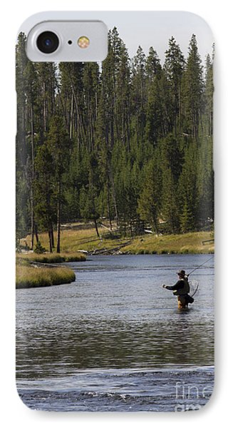 Fly Fishing In The Firehole River Yellowstone IPhone Case by Dustin K Ryan