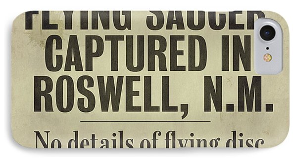 Flying Saucer Roswell Newspaper IPhone Case by Mindy Sommers